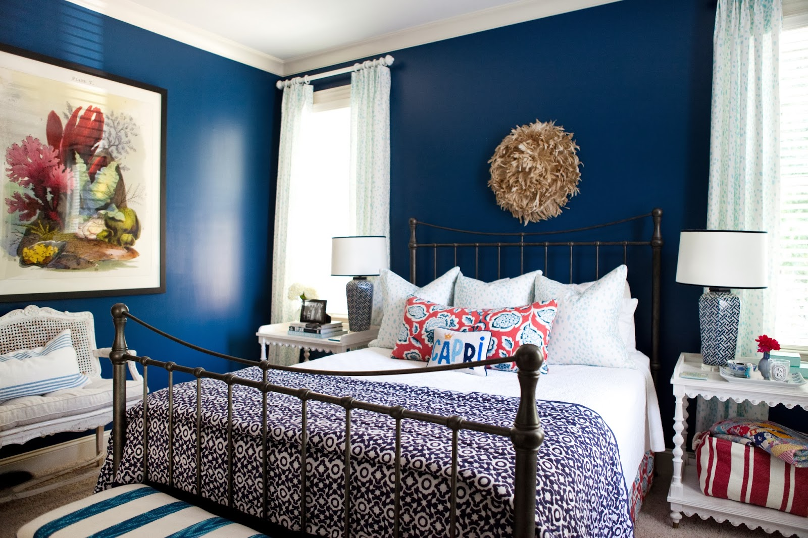 I suwannee a week of design a bold blue bedroom for Bold bedroom ideas