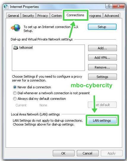 "Kemudian centang "" Use a proxy server for your LAN"" dan ""Bypass ..."