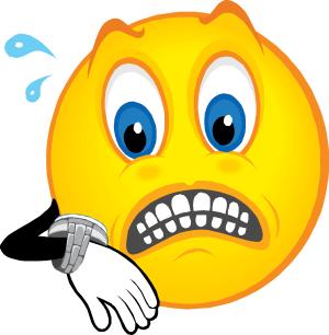émoticône qui regarde sa montre avec inquiétude
