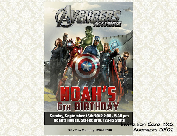 Avengers Birthday Party Invitations