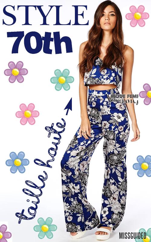 Pantalon taille haute à motif fleurs
