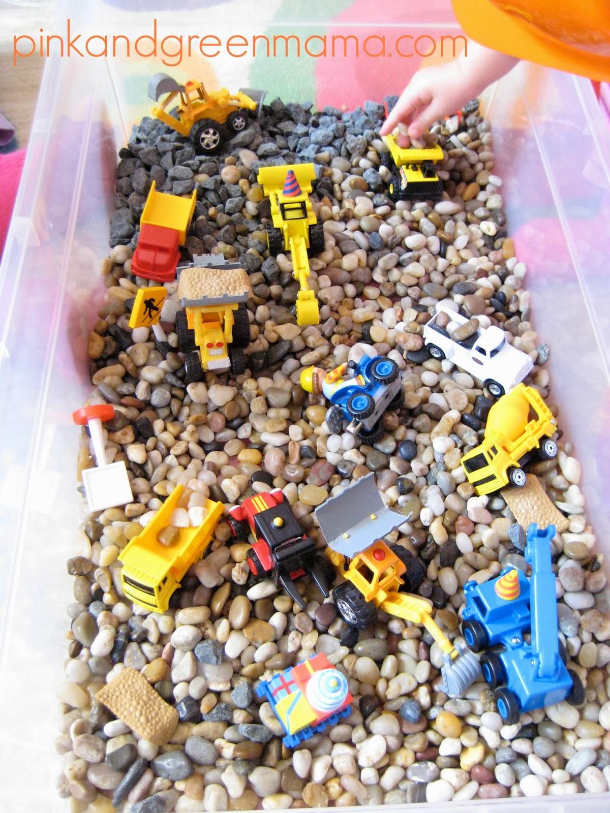 Construction Play Toys : Pink and green mama construction themed sensory box