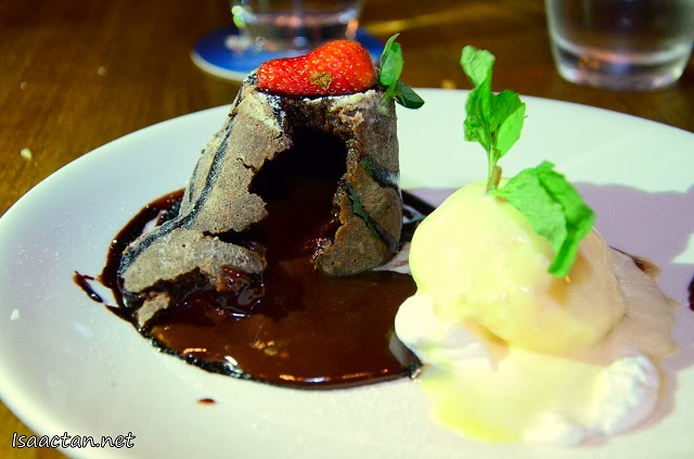 Check out the warm chocolate oozing out beautifully from The Press Room's Chocolate Volcano