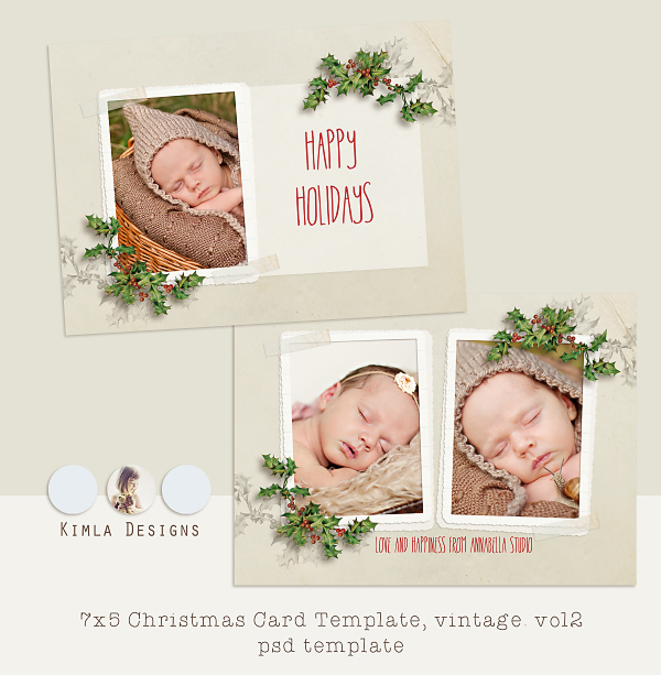 New | Vintage Christmas Card Templates | Etsy | photography templates ...