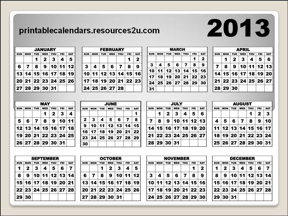2013 Calendar Printable Full Page | New Calendar Template Site