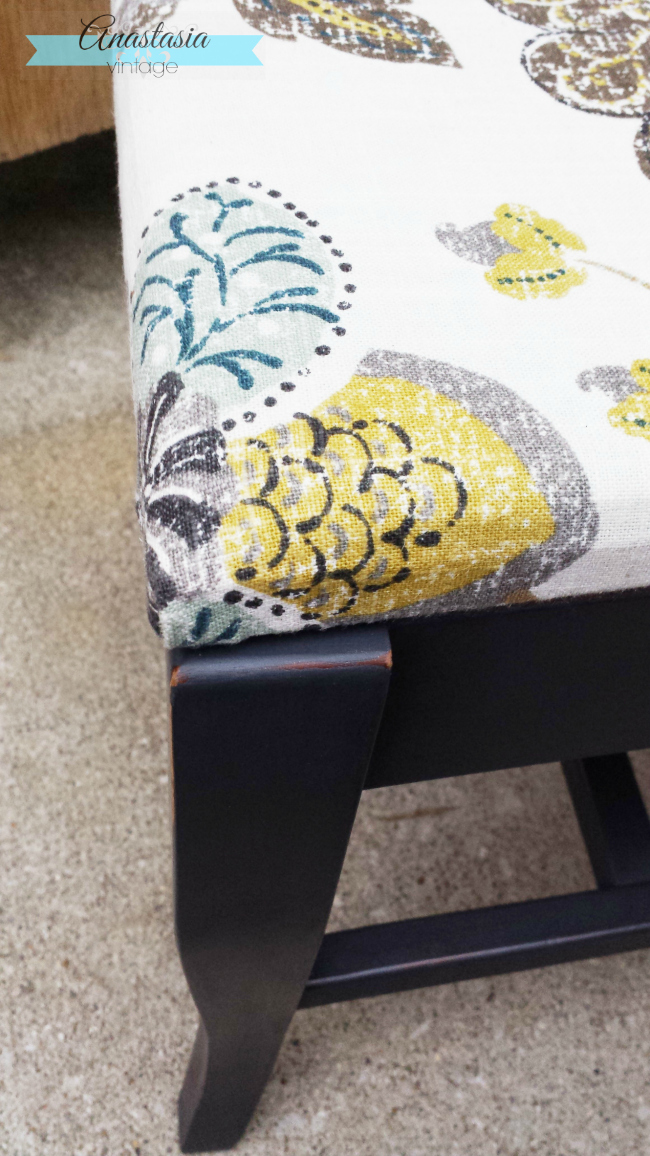 linen fabric upholstered annie sloan graphite painted chair distressed