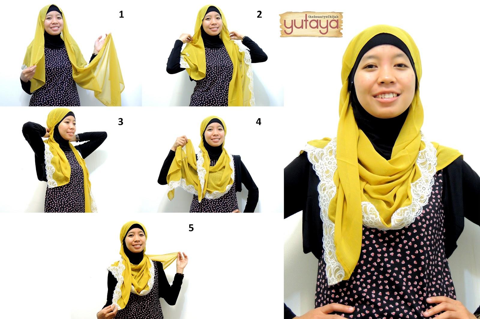 Yutaya Hijab Tutorial Pemakaian Pashmina Bahan Cerutti Renda