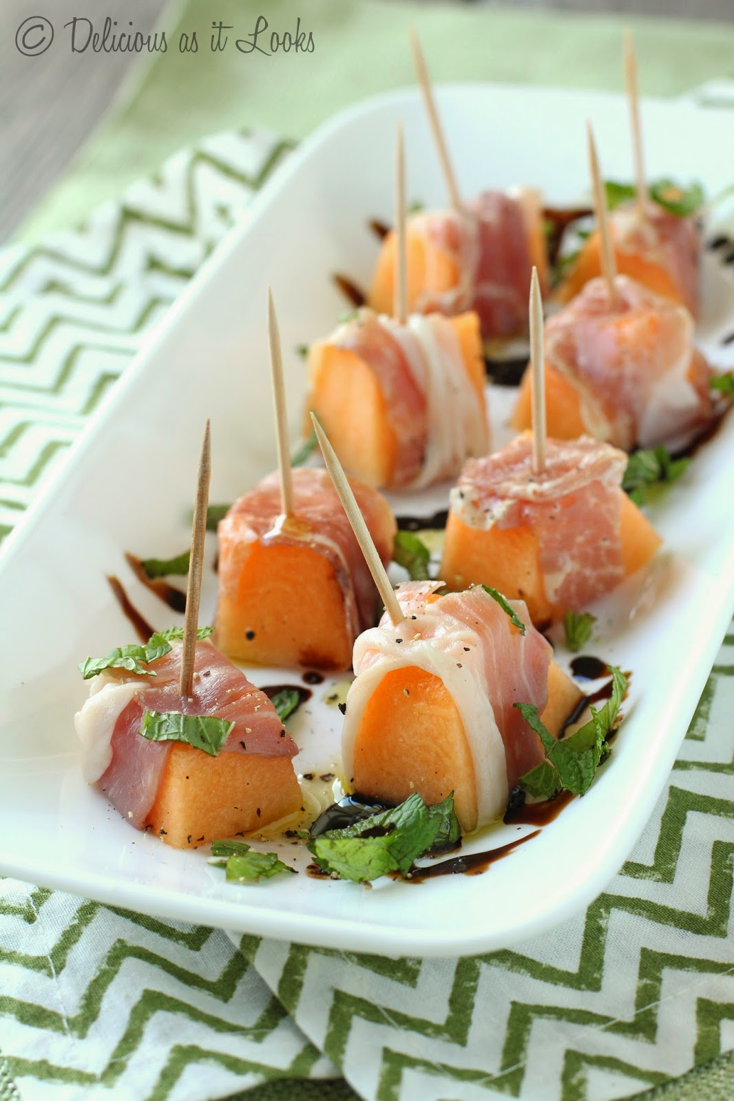 Prosciutto-Wrapped Cantaloupe with Balsamic Reduction {Low-FODMAP}  /  Delicious as it Looks