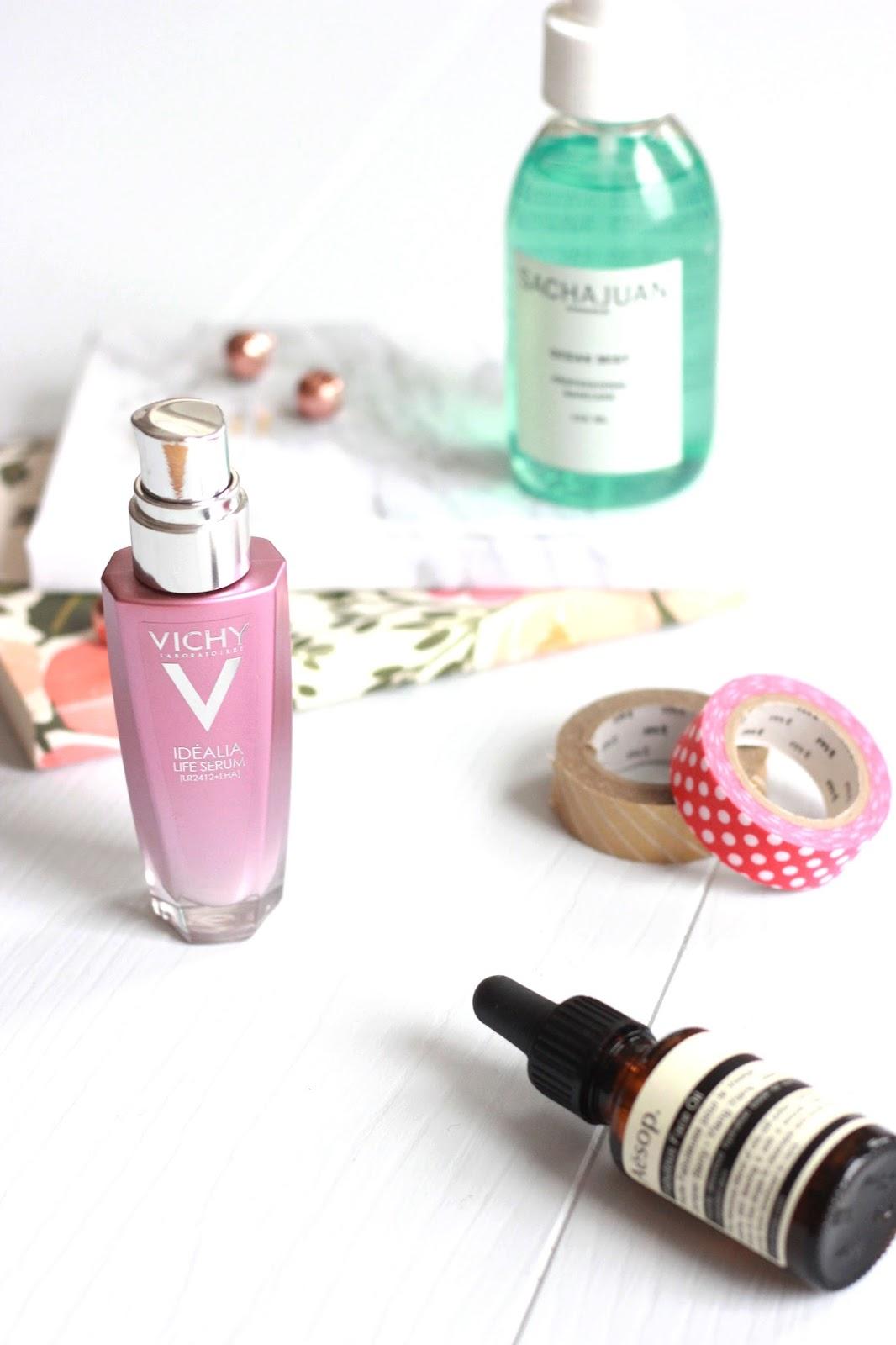 Aesop Fabulous Facial Oil, Vichy Idealia Serum, Sachajuan Ocean Mist