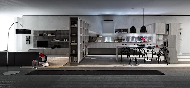 Cuisine en bois design avec composition de salon par le fabricant de cuisines équipées Gicinque