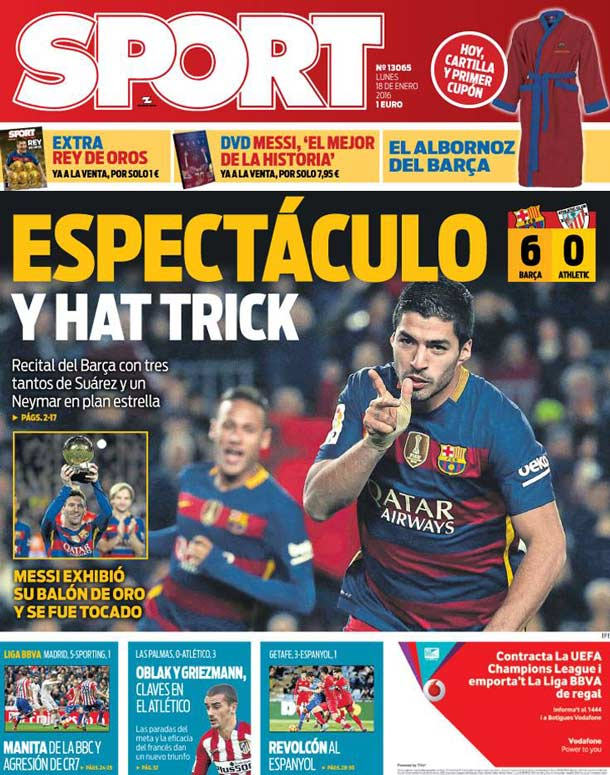 Portada sport espect culo y hat trick fc barcelona noticias for Las ultimas noticias del espectaculo
