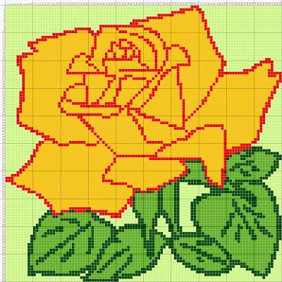 Gambar Pola Kristik Sederhana Bunga Mawar Kuning