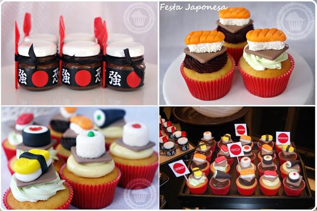 cupcakes sushi e sashimi