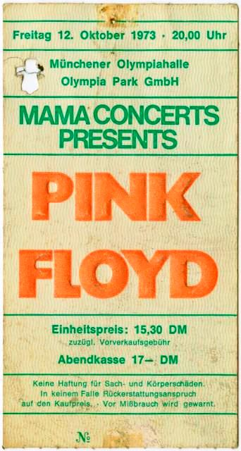 A scarce surviving ticket for the Floyd's 1973 show in Munich, Germany