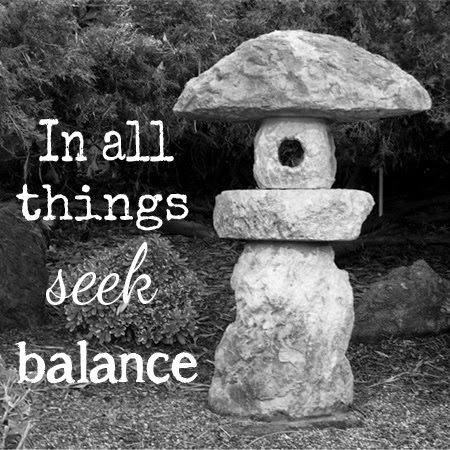 In all things seek balance, photo by Sue Allemand Art