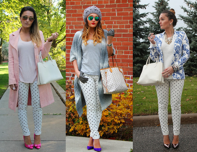 Nasty Gal jeans, nasty gal polka dot jeans, white jeans, print, statement blazer, print mix, baby pink, polka dot outfit, texture mix, ray ban sunglasses, Zara blazer, steve madden heels, manolo blahnik pumps, statement necklace, H&M sweater, oversized, oversized sweater, skinny jeans