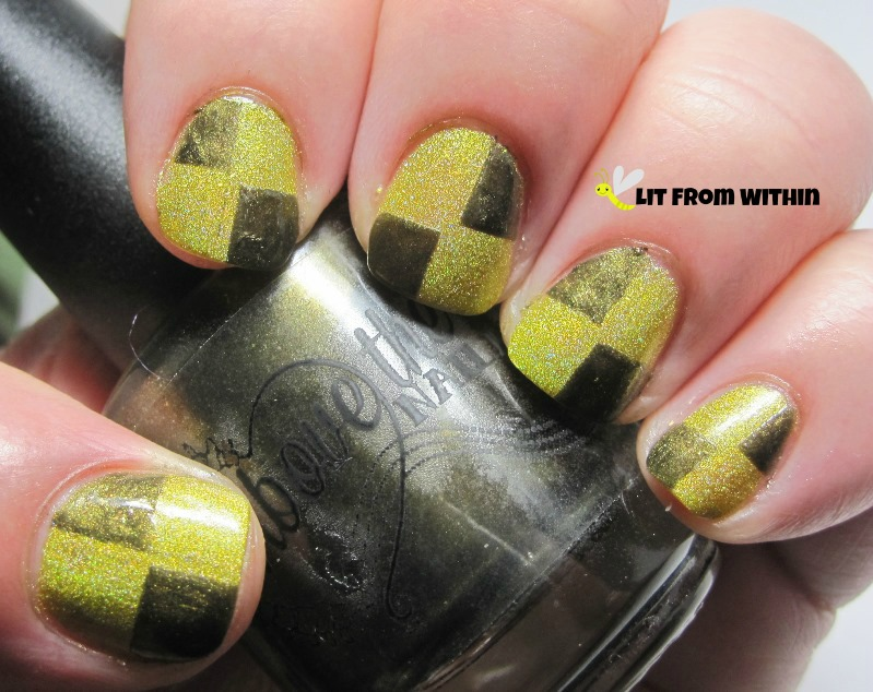 checkerboard pattern with Above The Curve Anona, an olive-golden-green.