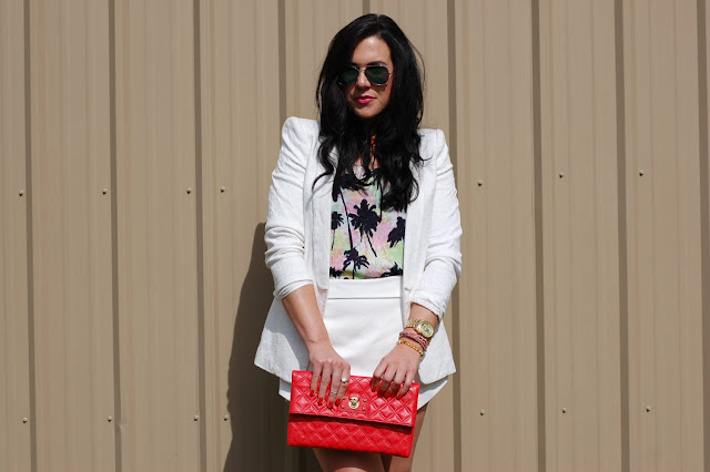 Palm tree tank, white Zara skort and jacquard blazer with a coral Marc Jacobs clutch.