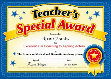 Acting Coach Award to Author