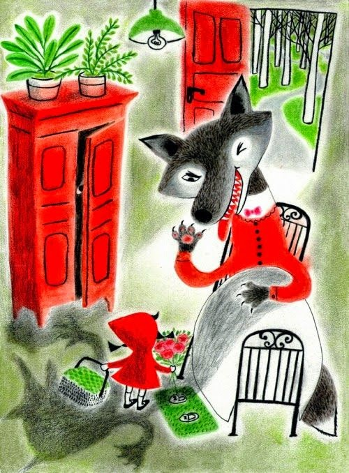 big bad wolf in bed with little red riding hood illustration by Hui Yuan Chang