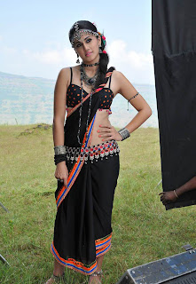 Tapsee Panu in black low rise saree Cute Naughty Dance Stills