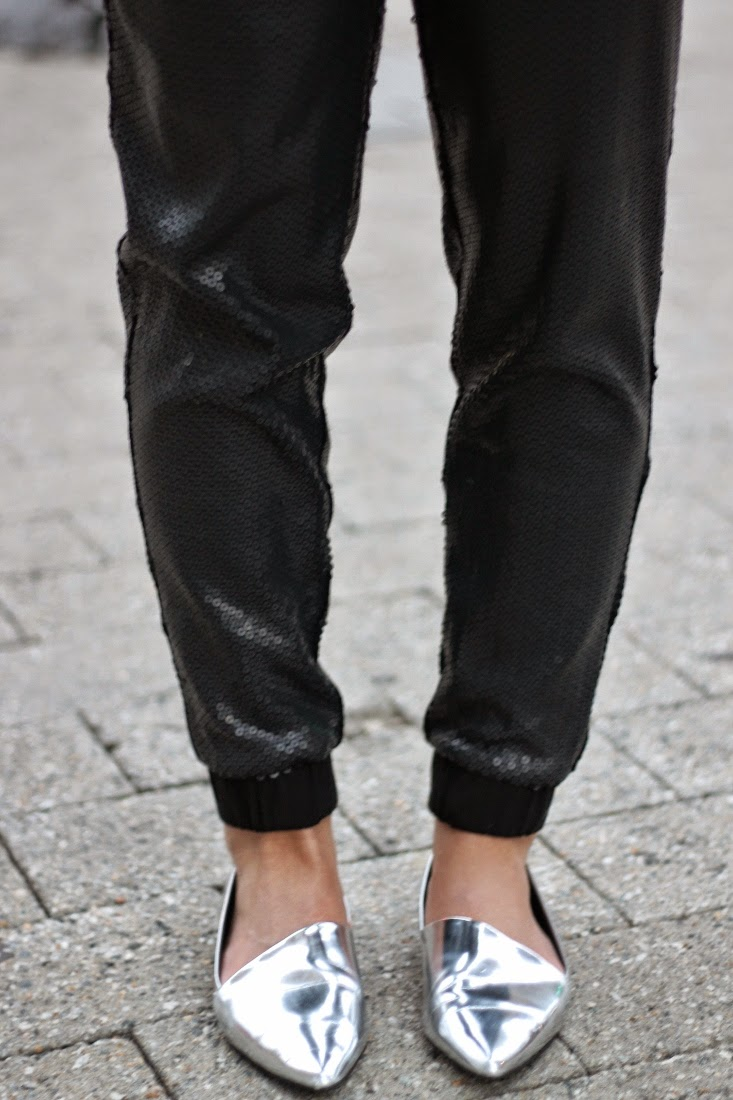sequin pants and metallic pointed toe flats