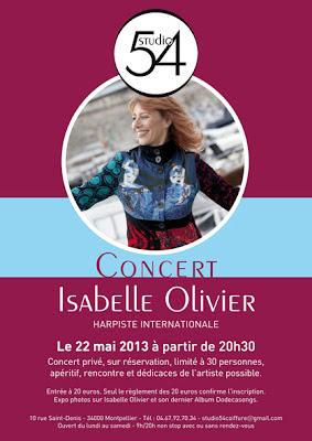 Affiche du concert d'Isabelle Olivier au Studio 54.