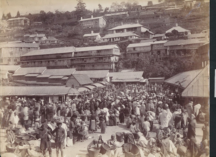 Market Area in Darjeeling, India - 19th Century