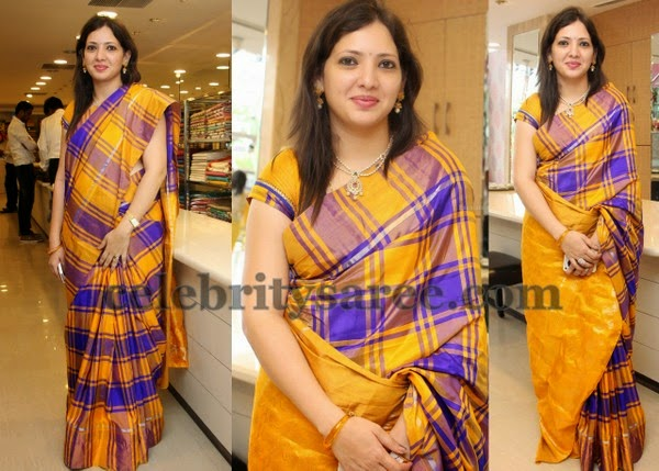 Purple and Mustard Stripes Silk Saree