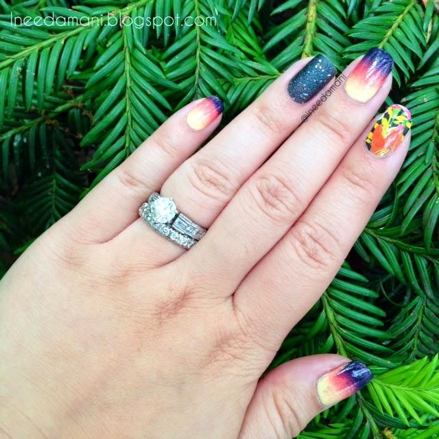 hawaii floral sunset nails