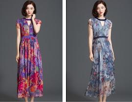 Two Design Floral Choker Collar Past Knee Length Chiffon Dress