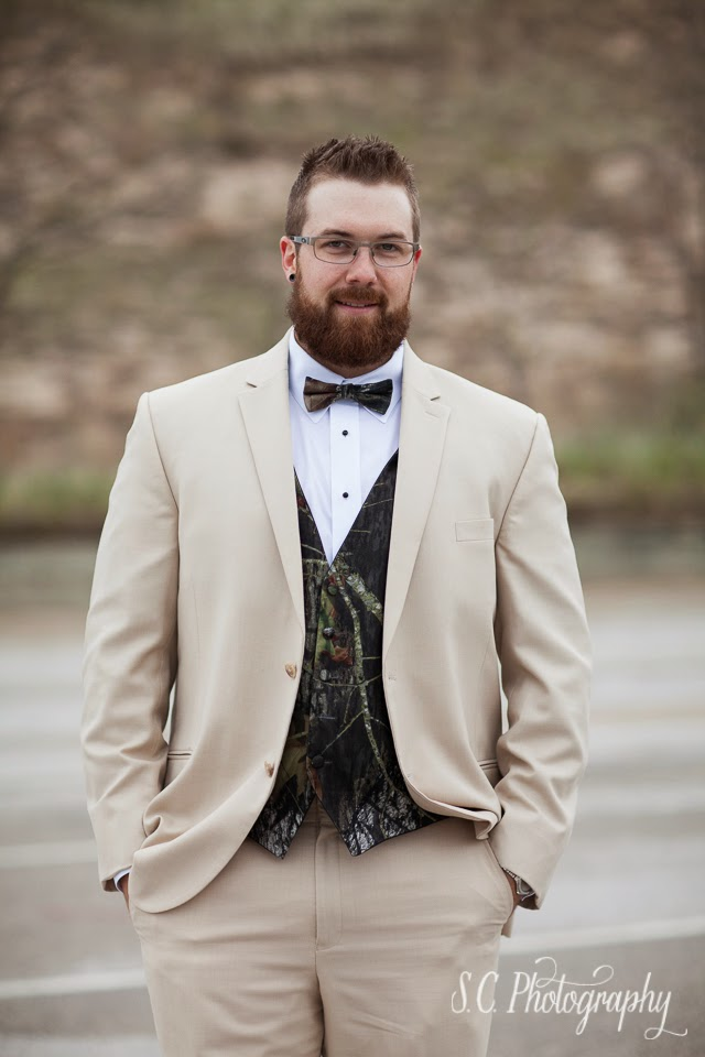 Camo vest and tux, hunting groom, fisherman wedding