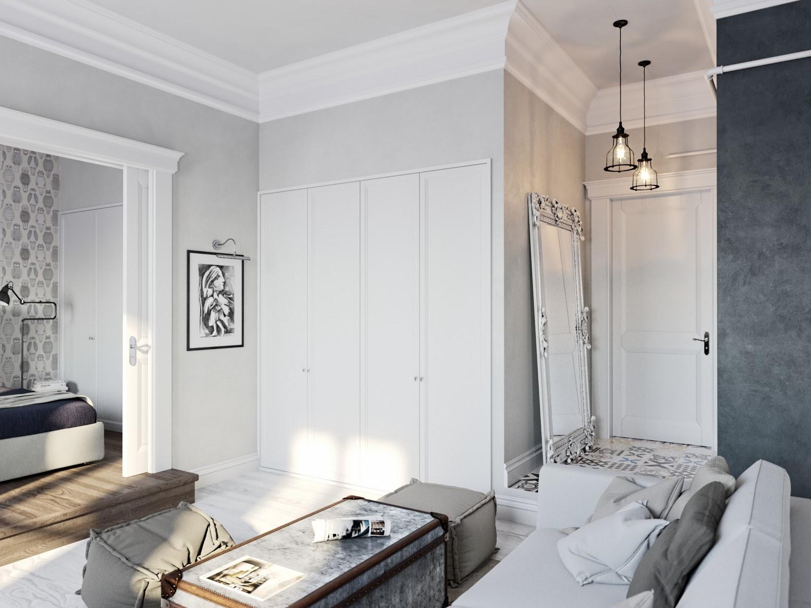 Industrial apartamento factory chic en blanco for Paredes grises y puertas blancas