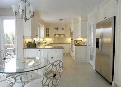 english country kitchen in white with modern decoration