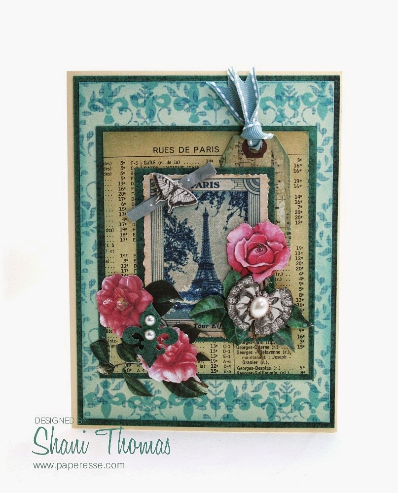 Paperesse Rues de Paris decoupage vintage look card