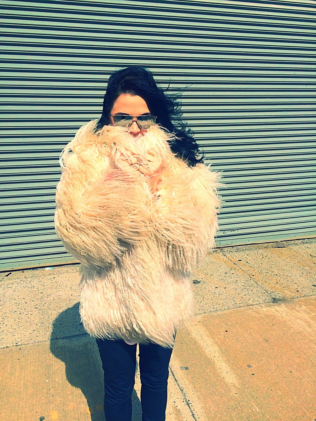 Olivia Inkster, NYC fashion blogger, vintage shag coat, Blow coat, vintage fur coat, white shag, seventies boho coat, Kate Hudson Almost Famous look outfit, Almost Famous movie clothes, No Relation vintage NYC, Lucky Selectism sunglasses, New York vintage stores, Burberry outfit inspiration, Burberry fur coat, winter white coat