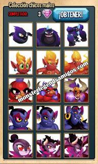 imagen de la colección chicos malos  de monster legends