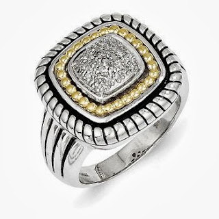 Sterling Silver with gold 0.1 Ct Diamond Ring