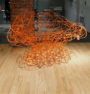 Corallo Orange Wire Arm Chair