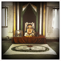 Swami Rama's portrait in the meditation hall