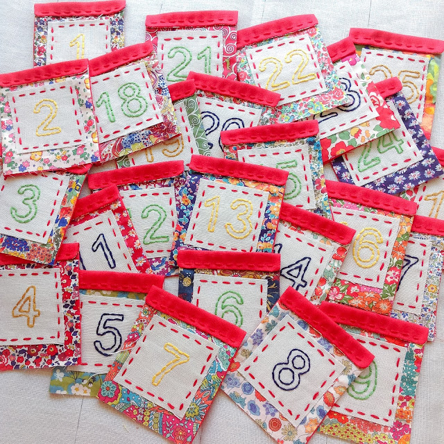 Liberty Advent Calendar pockets hand-embroidered numbers