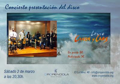 Concierto, Losvo, Oropéndola, Canon y caos, música, Guadalajara, agrupación musical, música folk, presentación disco