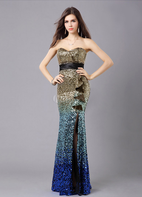 China Wholesale Clothes - Shiny Strapless Split Front Mermaid Sleeveless Polyester Evening Dress
