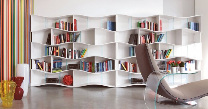 Designers From Italy Is Making A Bookcase Form Different From The Other, Is  The Innovative Self Supporting Library Unit In Lacquered MDF With Extra  Clear ...