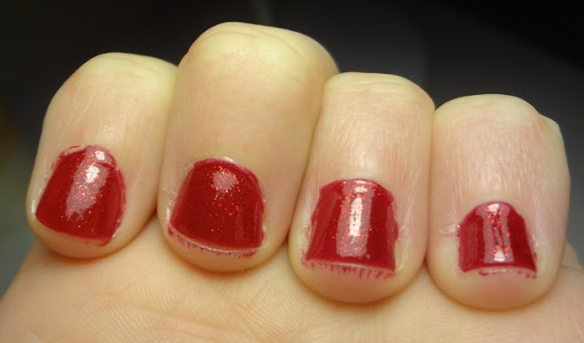 ruby jewels milani, red sparkly nail polish