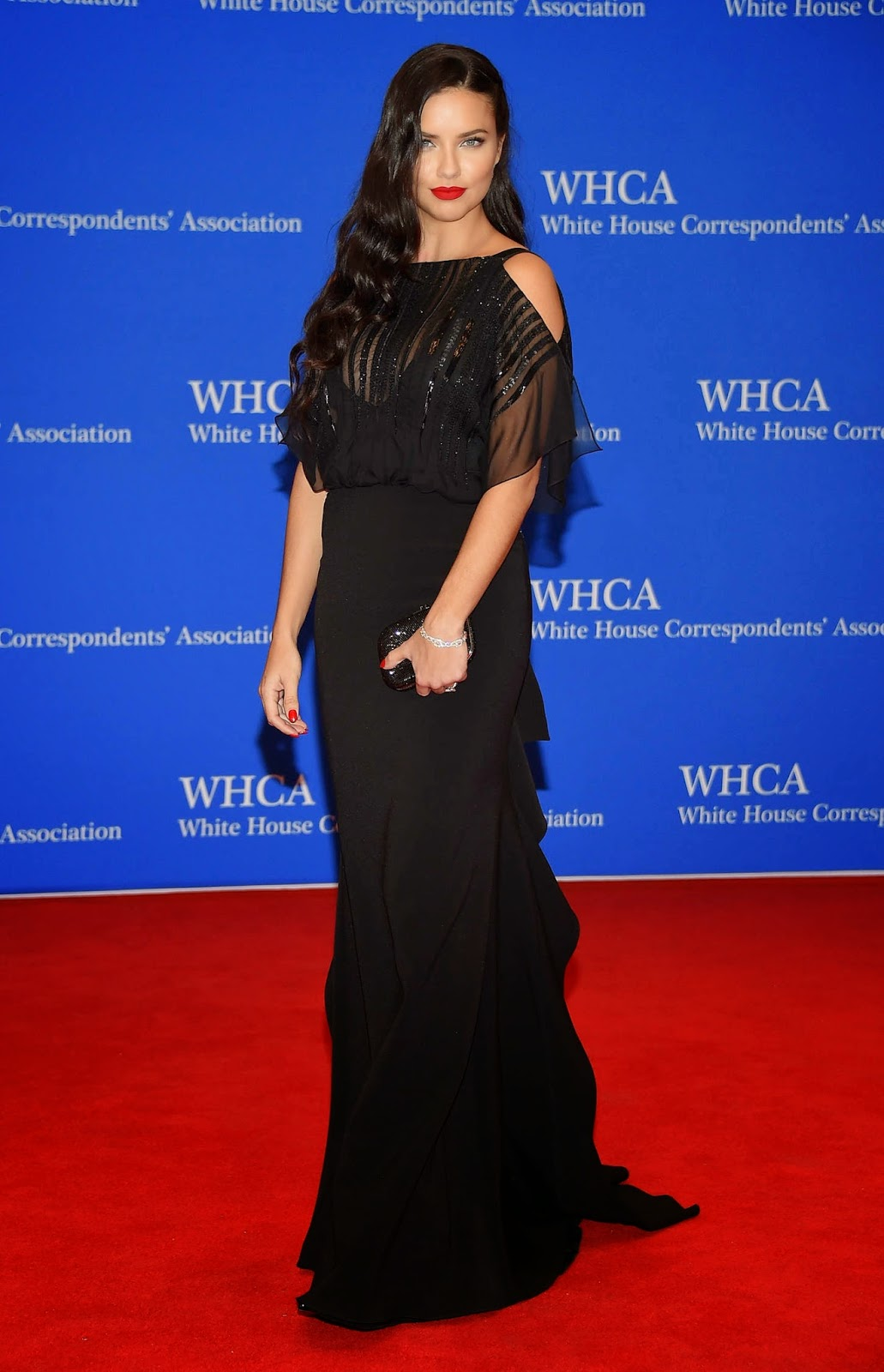 Adriana Lima sizzles in black at the 2015 White House Correspondents' Association Dinner