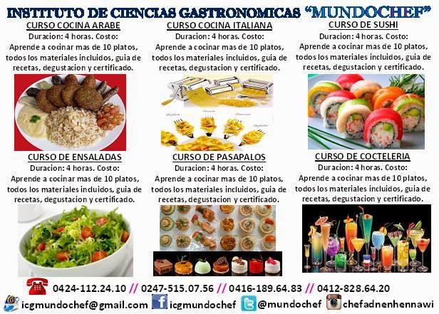 VER AFICHE: Cursos de Gastronomía en Mundo Chef  San Fernando.