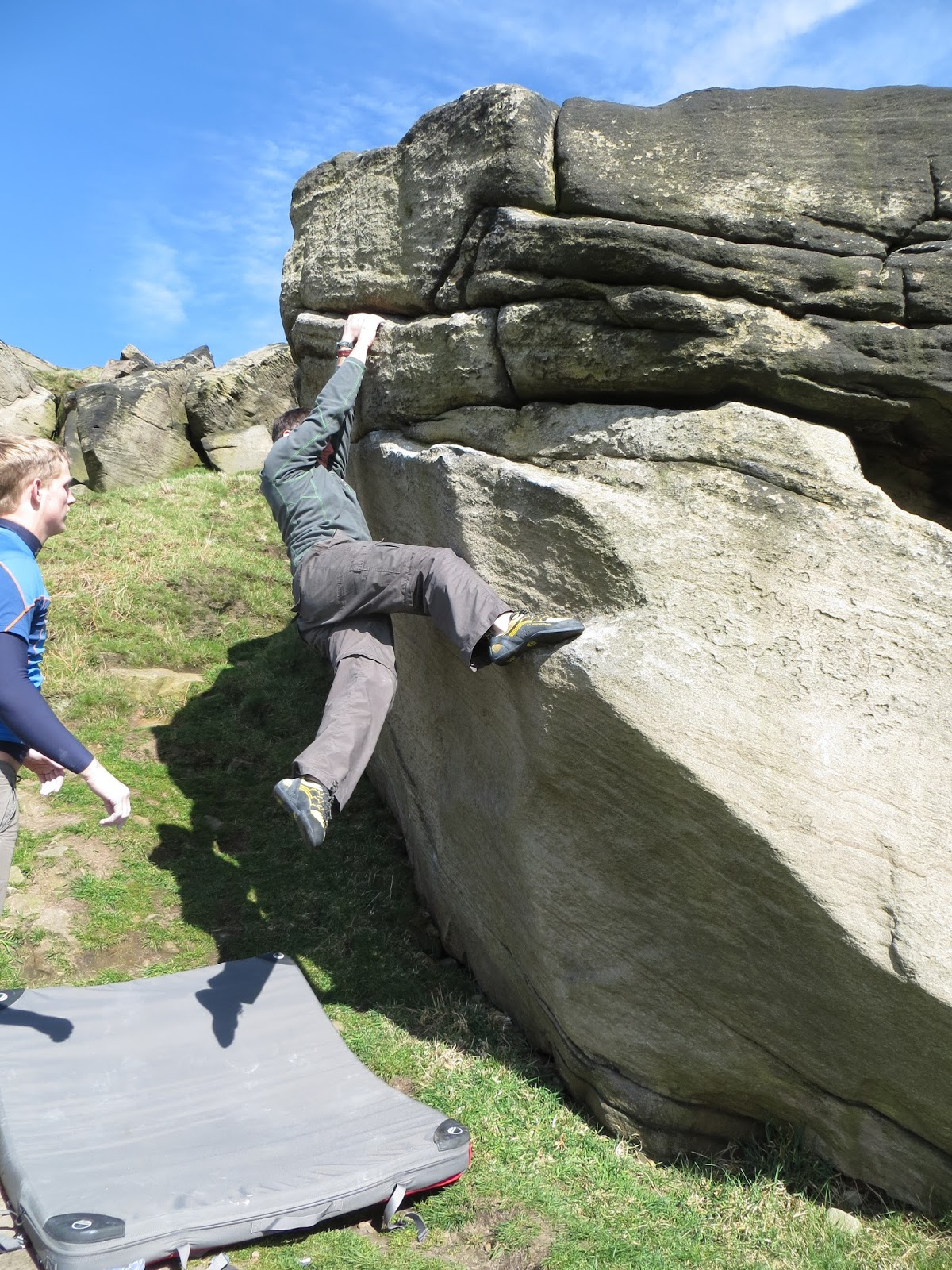 Almscliff, almsliffe, crag, cragg, yorkshire, grit, trad, climb, climbing, bouldering, great outdoors, mountain, hill, landscape, freedom, sun, spring, england, english countryside, uk, Britain, views, adventure, lead climb, second, fluted columns,