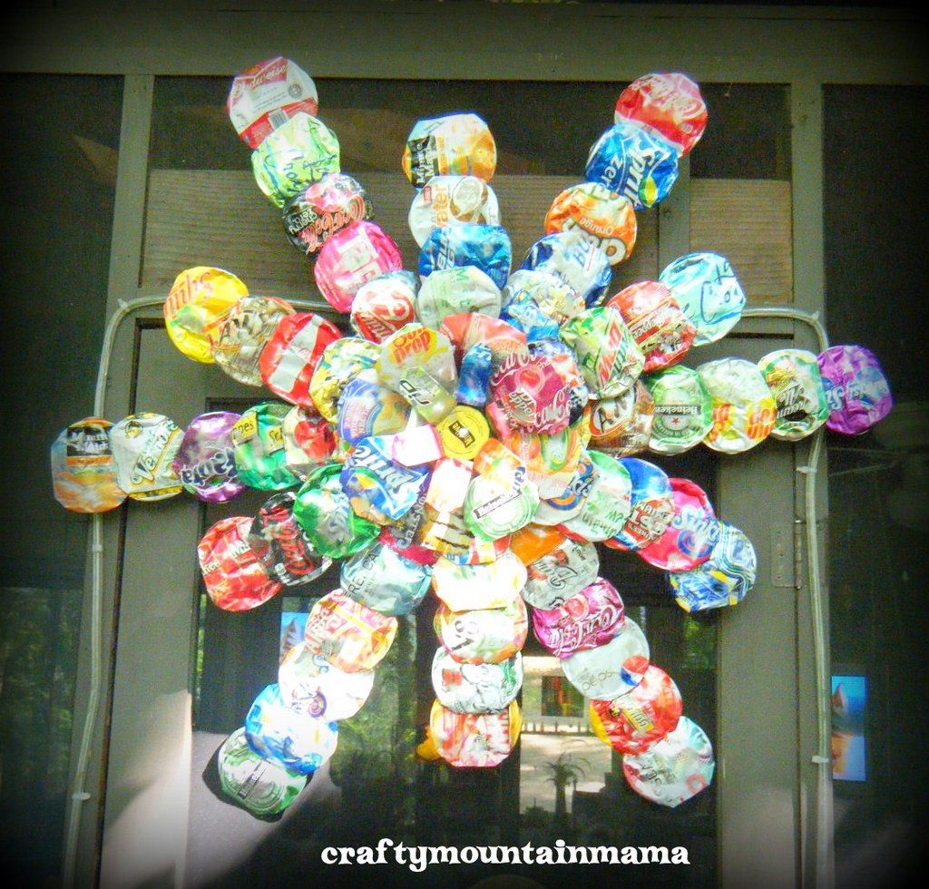 """soda can projects I have been having a blast decorating with soda can crafts this year my kids loved the scary soda can bats and soda can spiders """"creeping"""" around the house on halloween."""