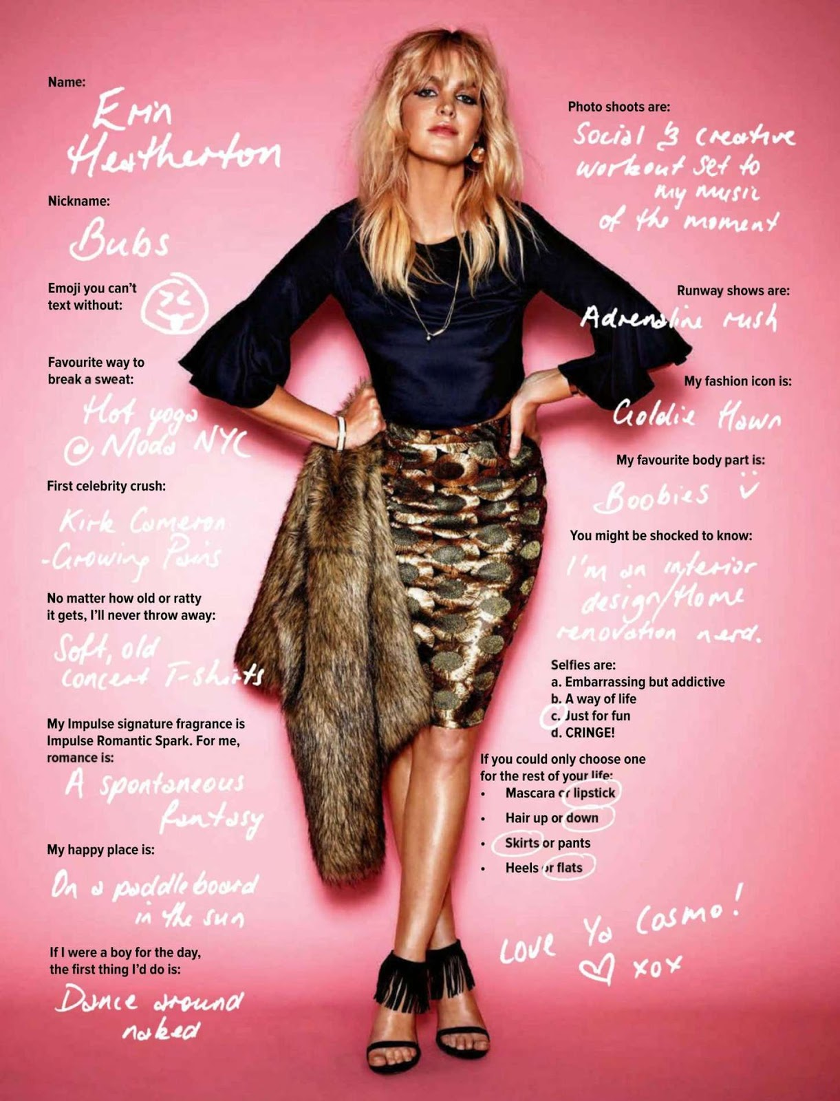 Erin Heatherton models 70s fashion for Cosmopolitan Australia July 2015